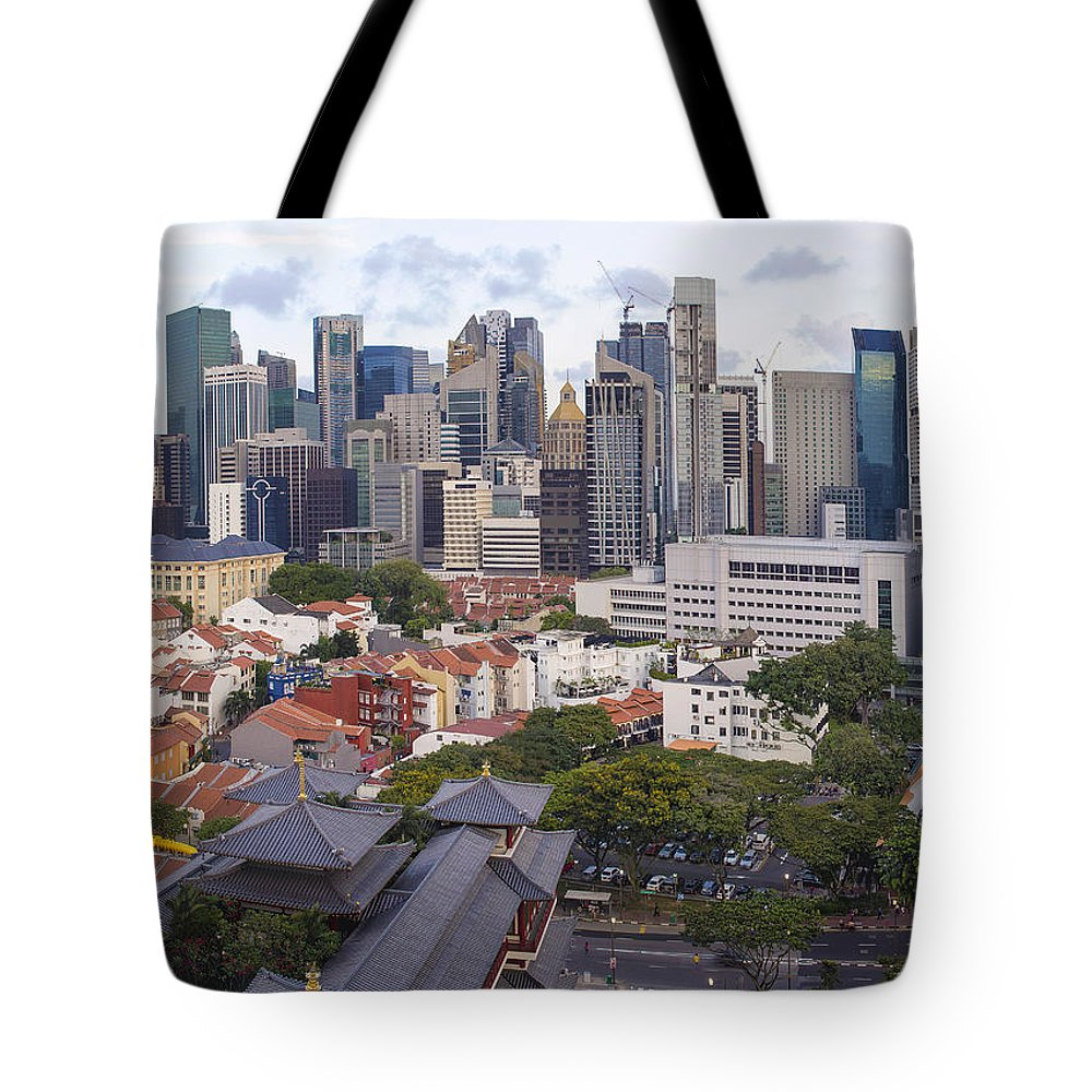 Singapore Tote Bag featuring the photograph Singapore Central Business District Over Chinatown Area by Jit Lim