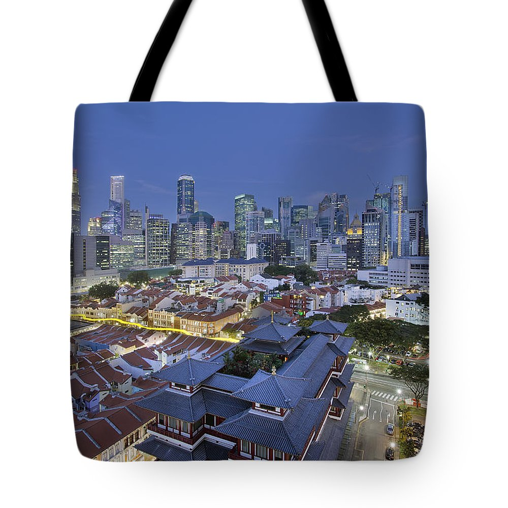 Singapore Tote Bag featuring the photograph Singapore Central Business District Over Chinatown Blue Hour by Jit Lim