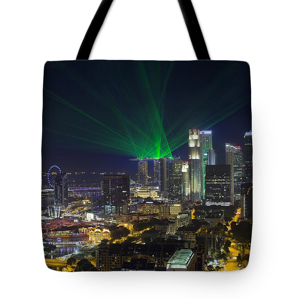 Singapore Tote Bag featuring the photograph Singapore Central Business District Skyline by Jit Lim