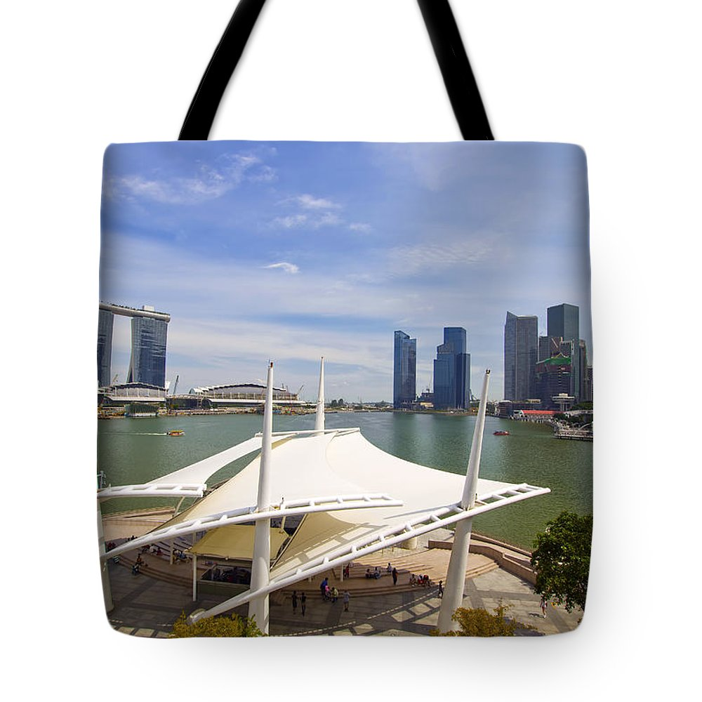 Marina Tote Bag featuring the photograph Singapore City Skyline From The Esplanade by David Gn