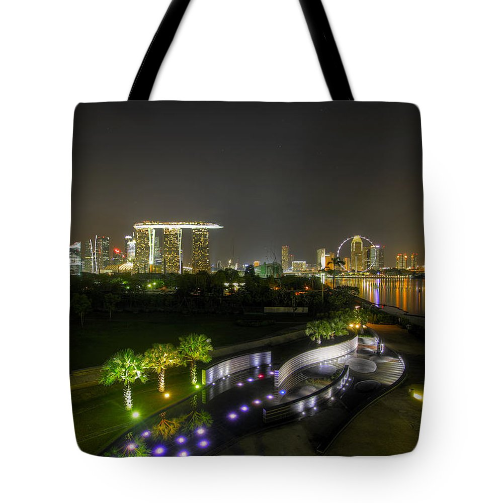 Singapore Tote Bag featuring the photograph Singapore Night Skyline From Marina Barrage by David Gn