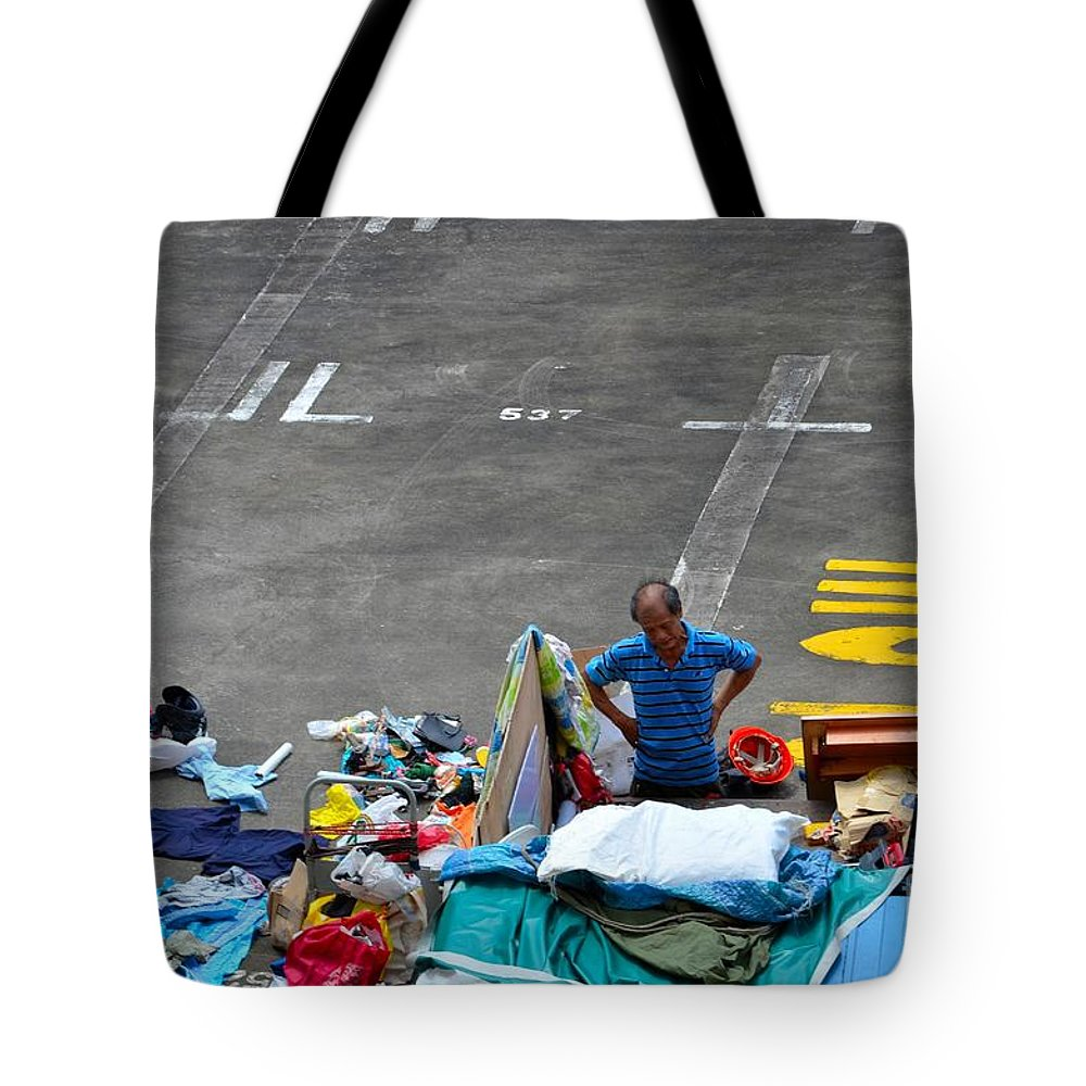Singapore Recycling Karung Guni Man Grimaces At Trash Pile Tote Bag