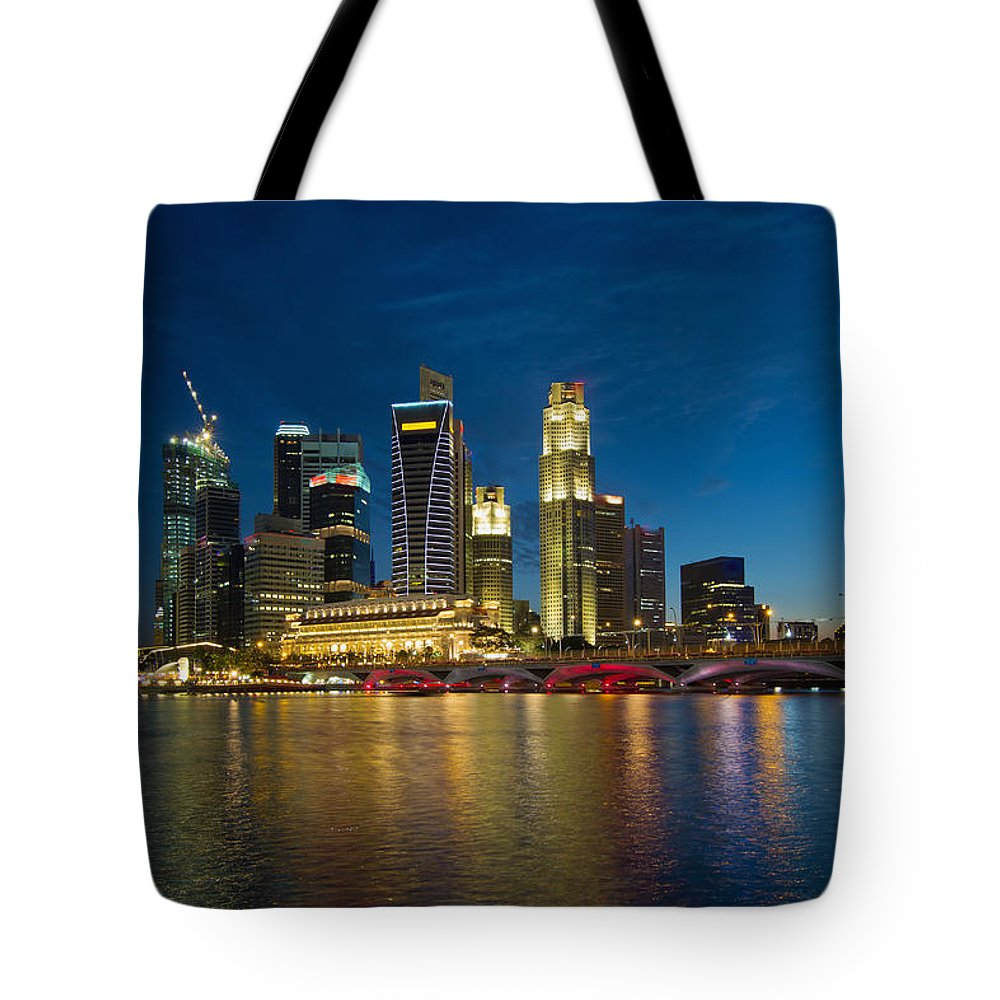Singapore Tote Bag featuring the photograph Singapore River Waterfront Skyline At Blue Hour by Jit Lim