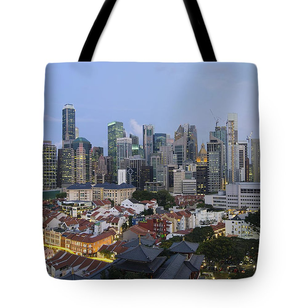 Singapore Tote Bag featuring the photograph Singapore Skyline Along Chinatown Evening by Jit Lim