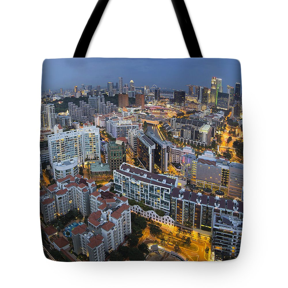 Singapore Tote Bag featuring the photograph Singapore Skyline Along Singapore River by Jit Lim