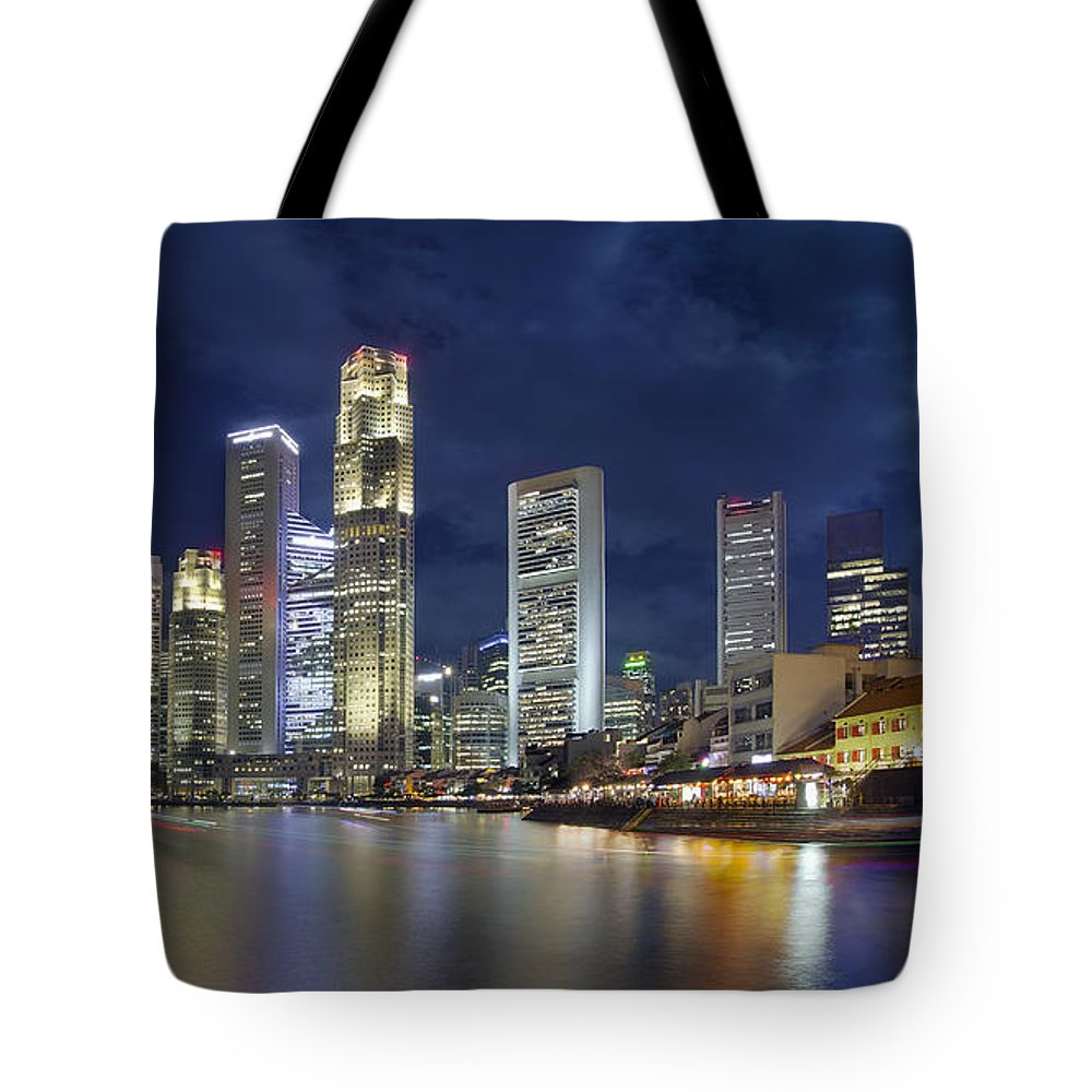 Singapore Tote Bag featuring the photograph Singapore Skyline From Boat Quay by Jit Lim