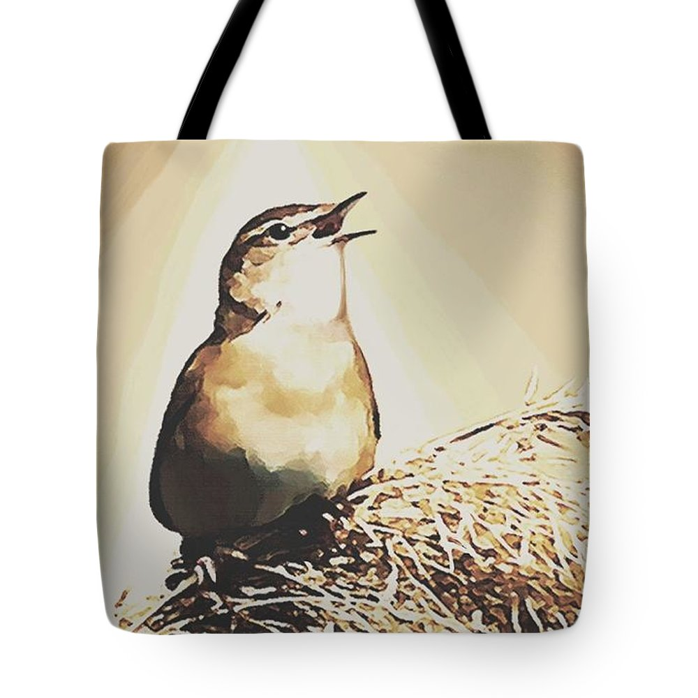 Bird Tote Bag featuring the painting Singing My Heart Out by Sophia Schmierer