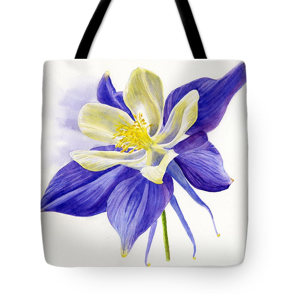 Single blue columbine tote bag for sale by sharon freeman blue tote bag featuring the painting single blue columbine by sharon freeman izmirmasajfo