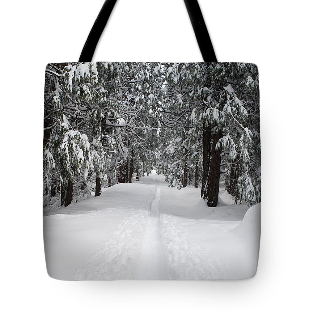 Travel Tote Bag featuring the photograph Single Track Cross Country Skiing Trail Yosemite National Park by Jason O Watson
