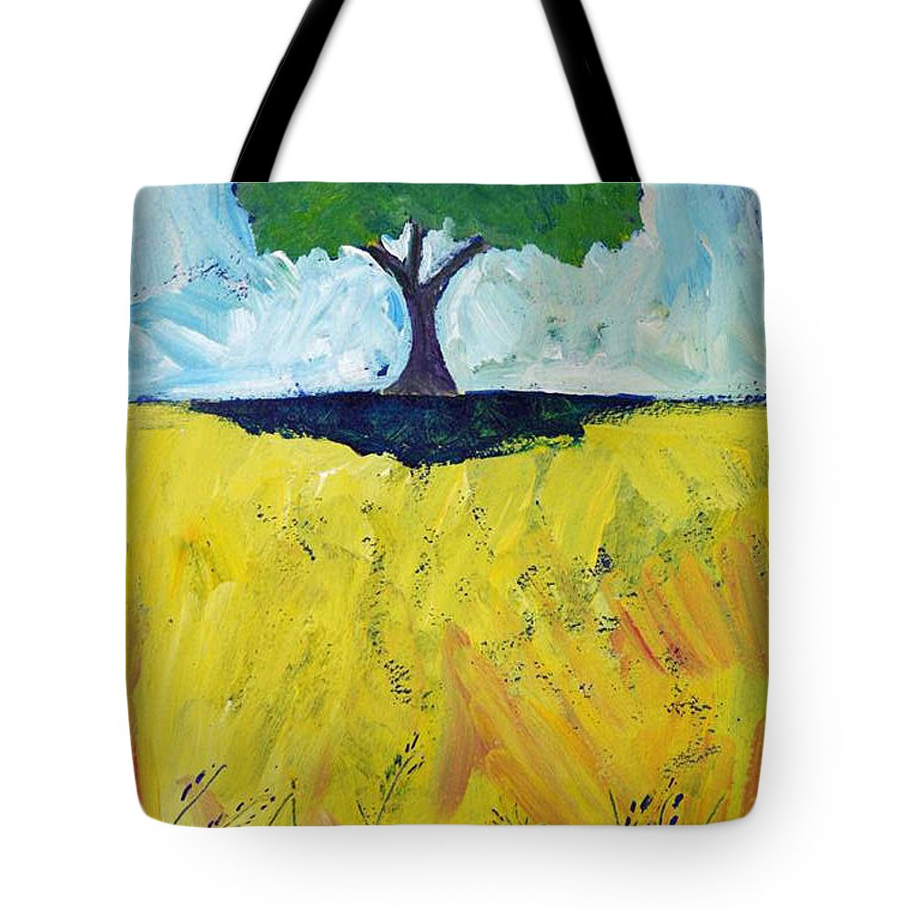 Single Tree Tote Bag featuring the painting Single Tree by Shirin Shahram Badie