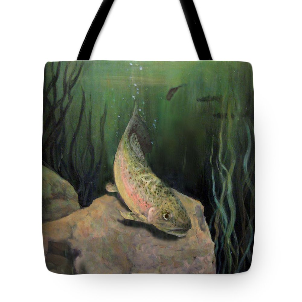 Nature Tote Bag featuring the painting Single Trout by Donna Tucker