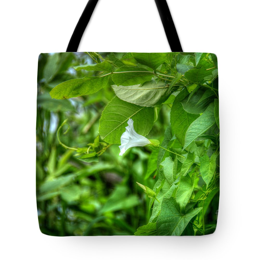 Flower Tote Bag featuring the photograph Single Trumpet by M Dale