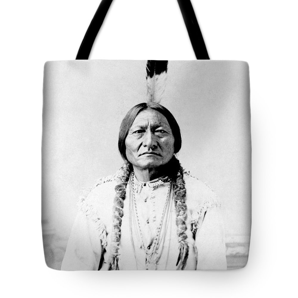 Native American Tote Bag featuring the photograph Sioux Chief Sitting Bull by War Is Hell Store