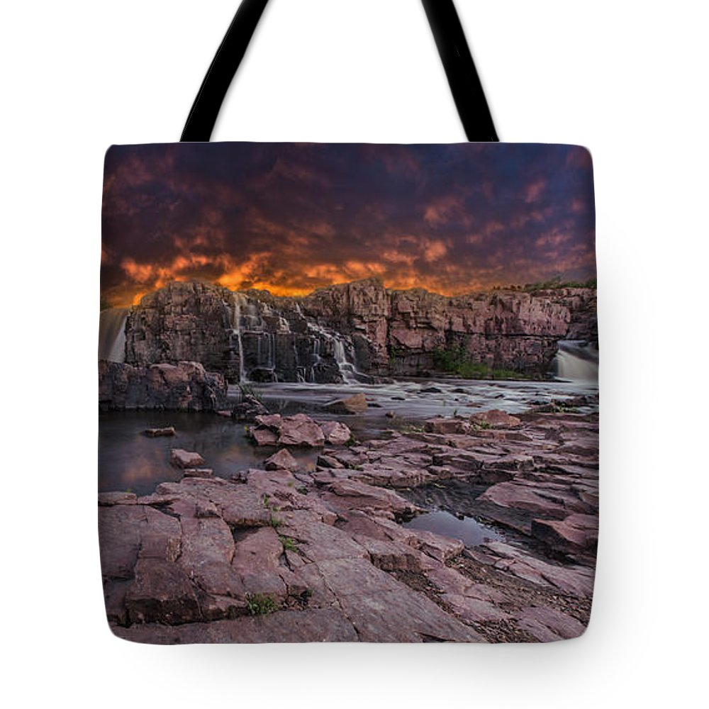 Sunset Tote Bag featuring the photograph Sioux Falls by Aaron J Groen