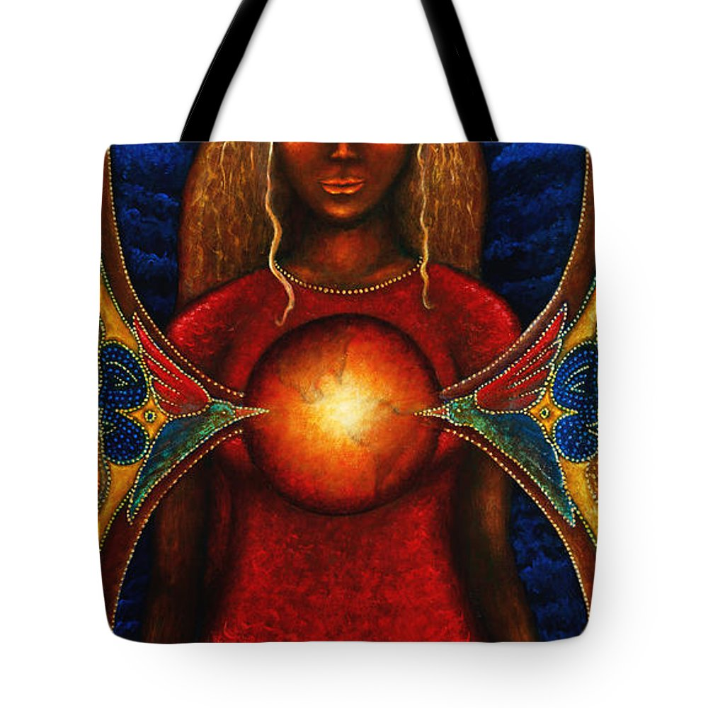 Fantasy Tote Bag featuring the painting Sister Of The Stars by Kevin Chasing Wolf Hutchins