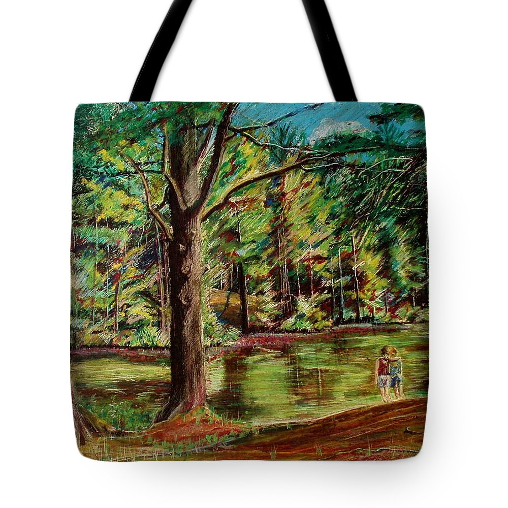 New Hampshire Tote Bag featuring the pastel Sisters At Wason Pond by Sean Connolly