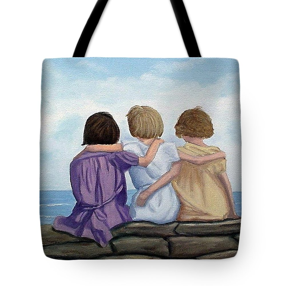 Sisters Tote Bag featuring the painting Sisters by Fran Brooks