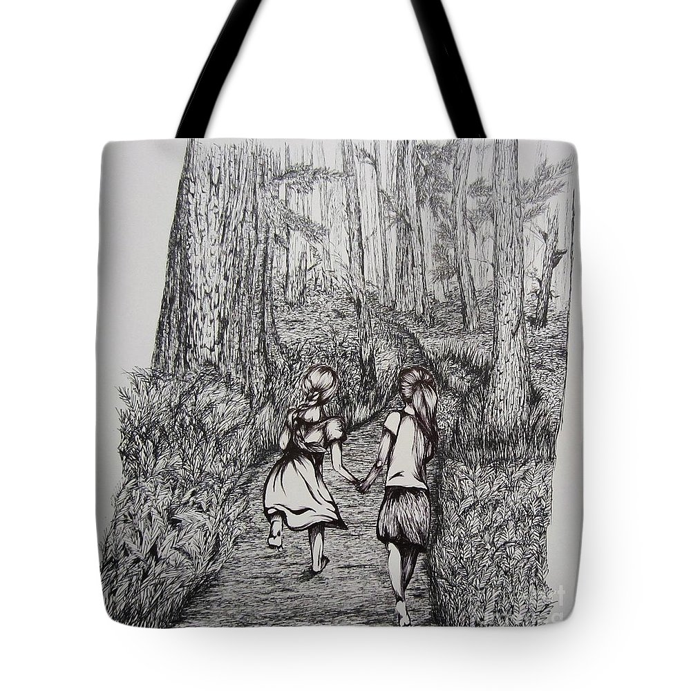 Forest Tote Bag featuring the drawing Sisters by Shayla Tansey