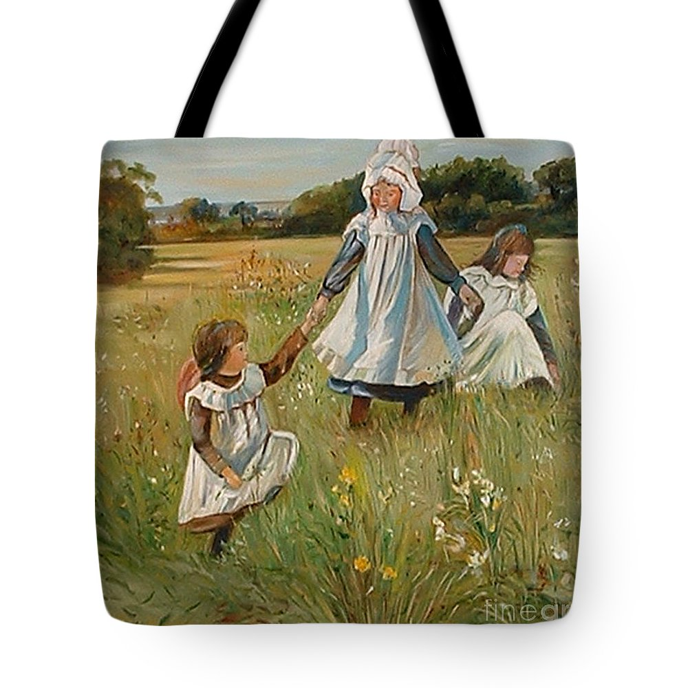 Classic Art Tote Bag featuring the painting Sisters by Silvana Abel