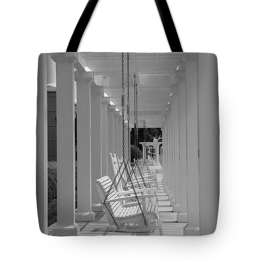 Swings Tote Bag featuring the photograph Sit A Spell by Greg Simmons