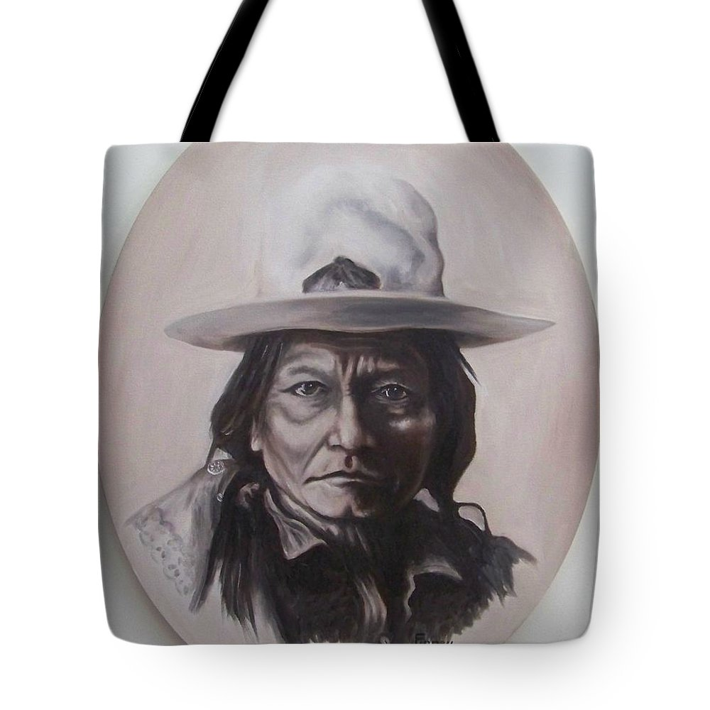 Michael Tote Bag featuring the painting Sitting Bull by Michael TMAD Finney