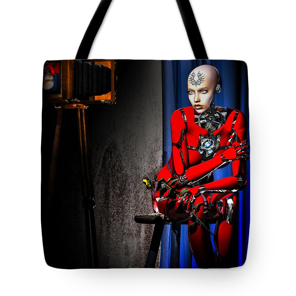 Android Tote Bag featuring the digital art Sitting For The Camera by Bob Orsillo