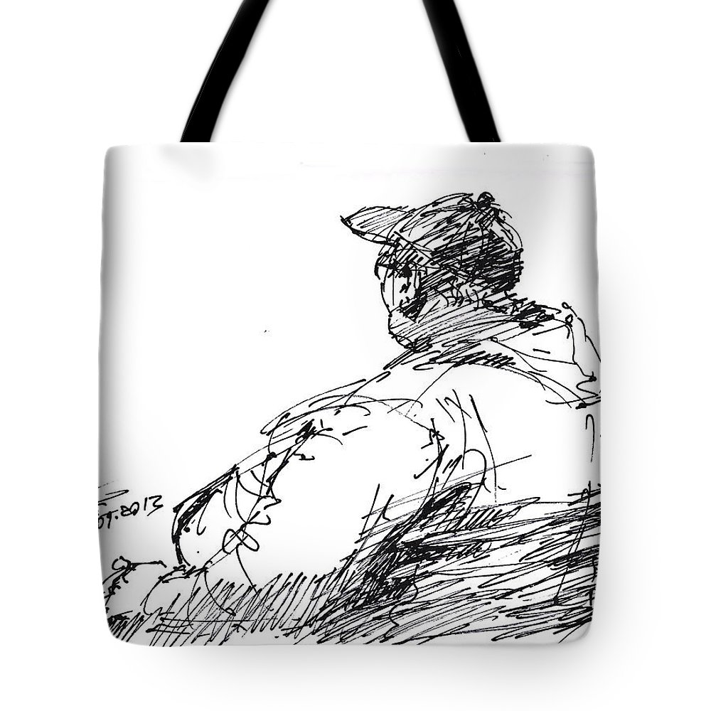 Sketch Tote Bag featuring the drawing Sitting Man by Ylli Haruni