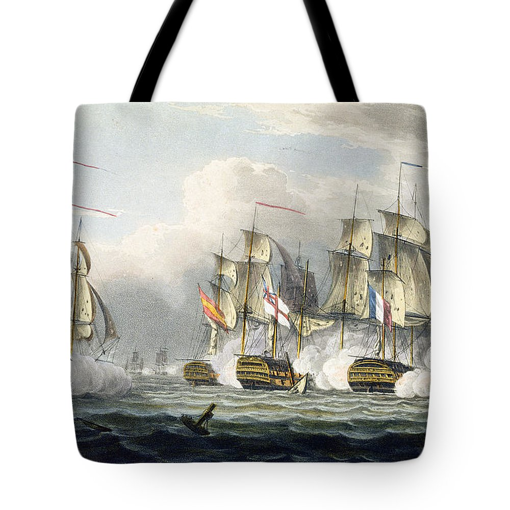 Naval Tote Bag featuring the painting Situation Of The Hms Bellerophon by Thomas Whitcombe