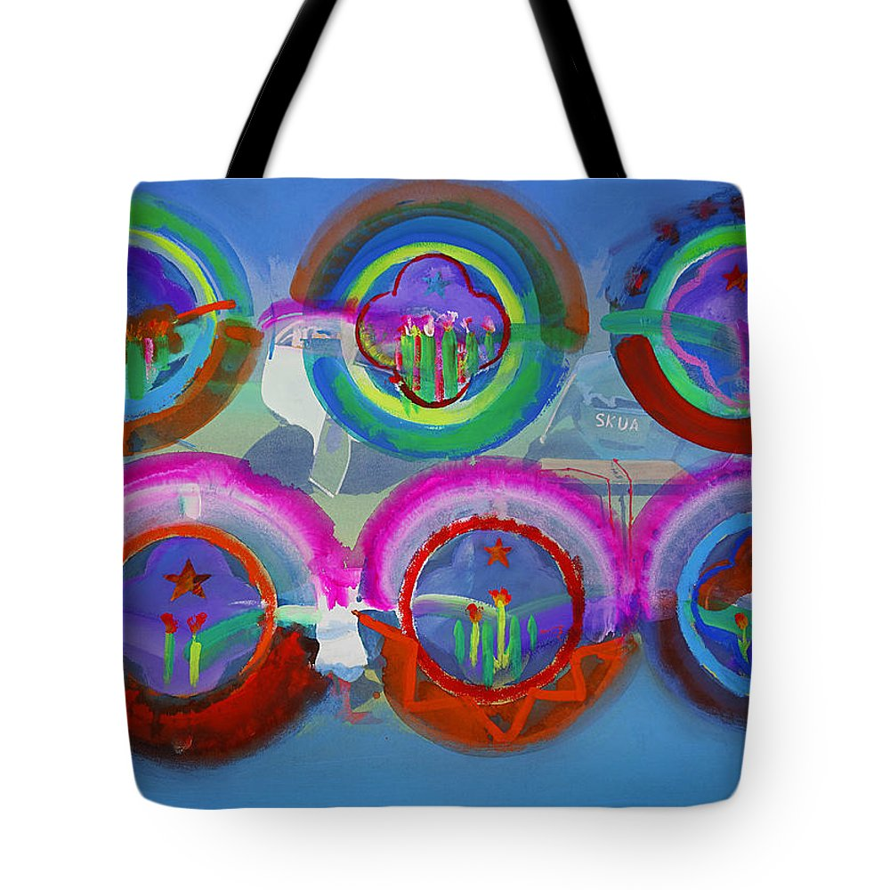 Texas Art Tote Bag featuring the digital art Six American Spring Icons by Charles Stuart