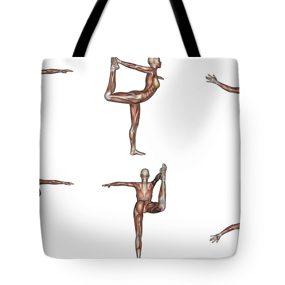 Yoga Tote Bag featuring the digital art Six Different Views Of Dancer Yoga Pose by Elena Duvernay