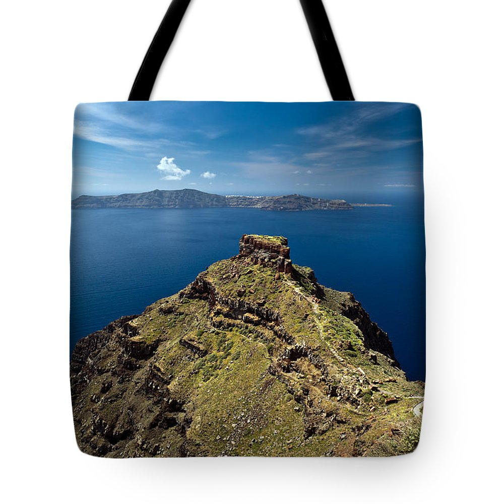 Greek Island Tote Bag featuring the photograph Skaros On Santorini by Gary Eason