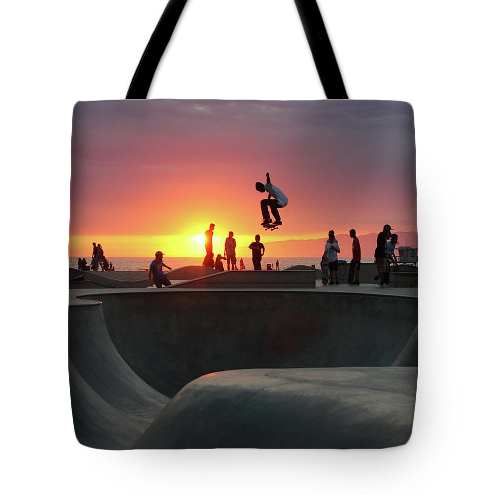 Expertise Tote Bag featuring the photograph Skateboarding At Venice Beach by Mgs