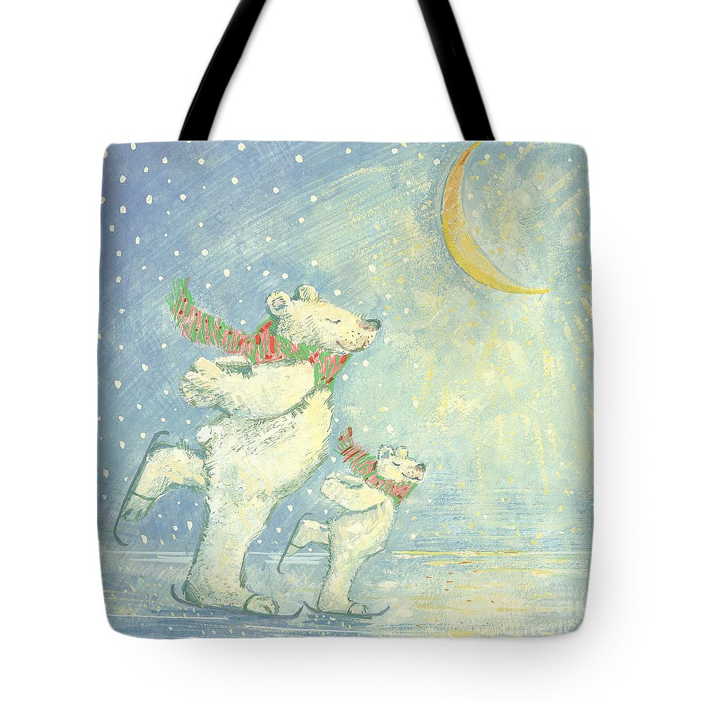 Ice; Smiling; Happy; Bear; Snow; Crescent Moon; Christmas Card; Blizzard; Children's Illustration Tote Bag featuring the painting Skating Polar Bears by David Cooke