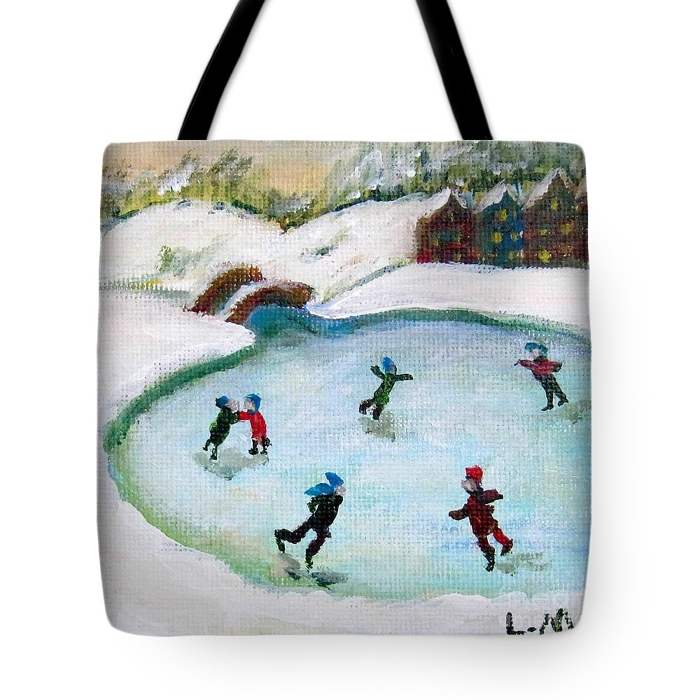 Ice Skate Tote Bag featuring the painting Skating Pond by Laurie Morgan