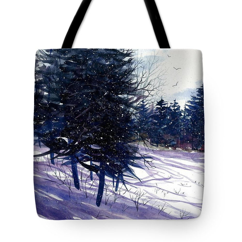 Ski Hill Tote Bag featuring the painting Ski Hill by Steven Schultz