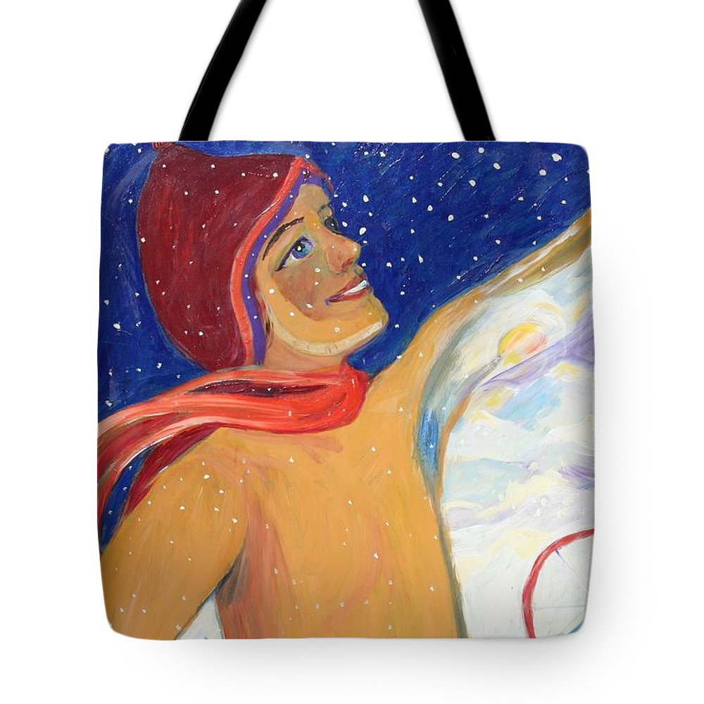 Ski Art Tote Bag featuring the painting Skiers Exhilaration by Avonelle Kelsey