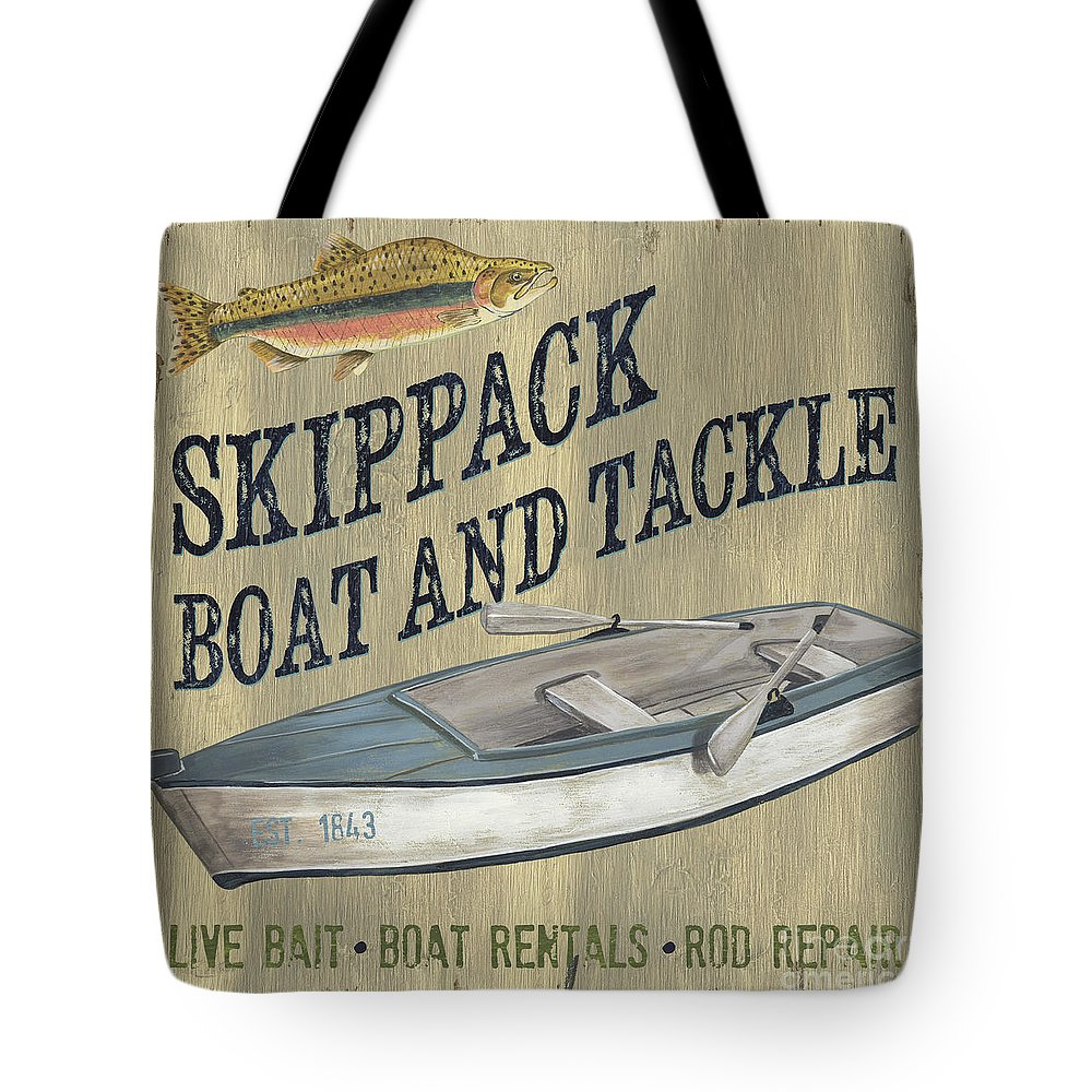 Lodge Tote Bag featuring the painting Skippack Boat And Tackle by Debbie DeWitt