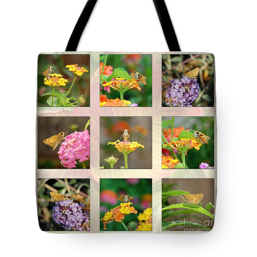 Butterfly Tote Bag featuring the photograph Skipper Butterfly Collage by Debra Thompson