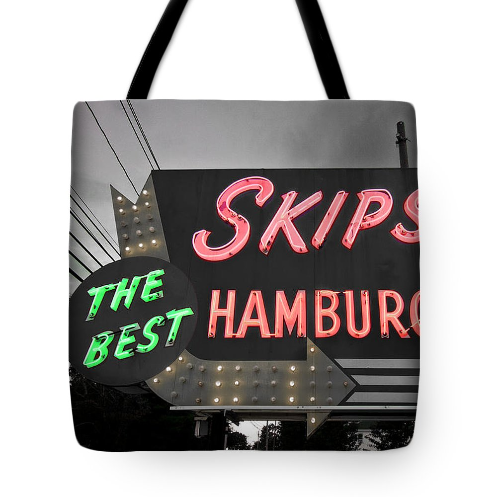 Neon Tote Bag featuring the photograph Skips Hamburgers II by K Hines