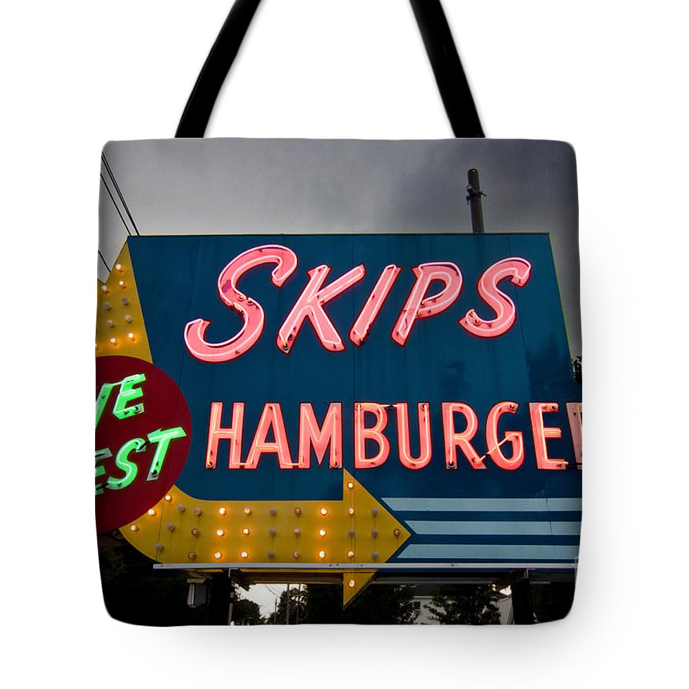Neon Tote Bag featuring the photograph Skips Hamburgers by K Hines