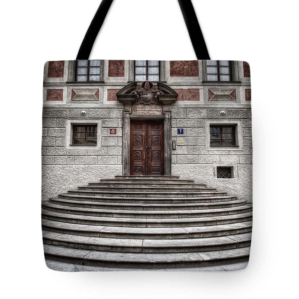 Joan Carroll Tote Bag featuring the photograph Skirted Door by Joan Carroll