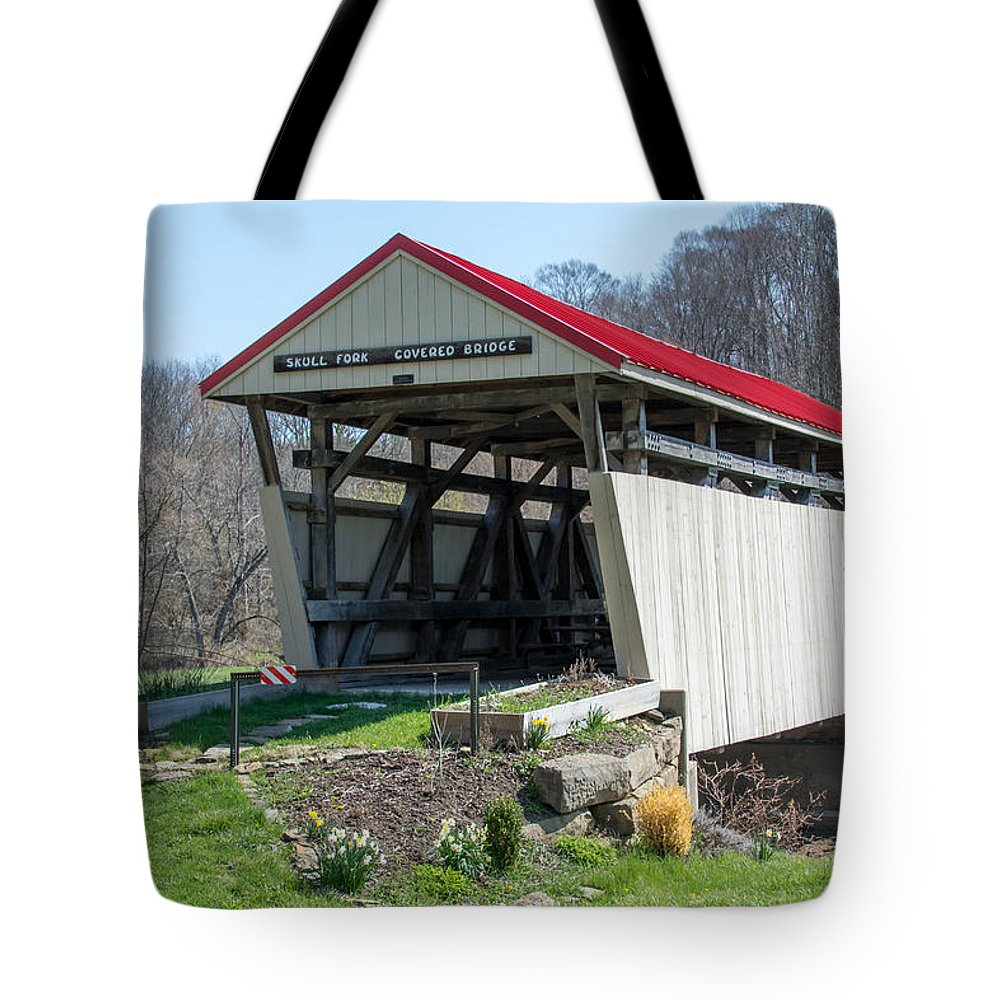 Bridges Tote Bag featuring the photograph Skull Fork Covered Bridge by Guy Whiteley