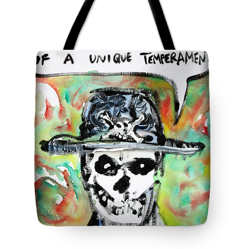 Skull Tote Bag featuring the painting Skull Quoting Oscar Wilde.1 by Fabrizio Cassetta