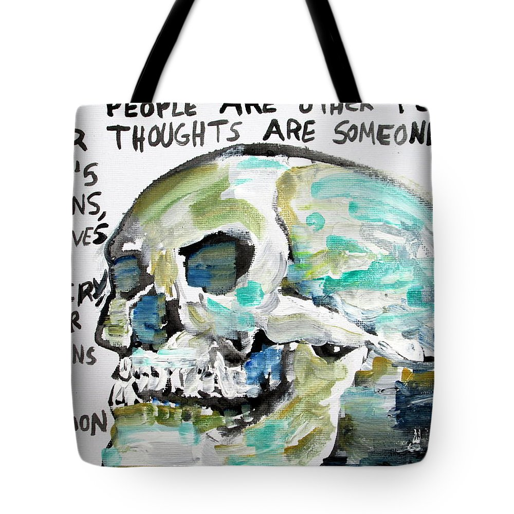 Skull Tote Bag featuring the painting Skull Quoting Oscar Wilde.10 by Fabrizio Cassetta