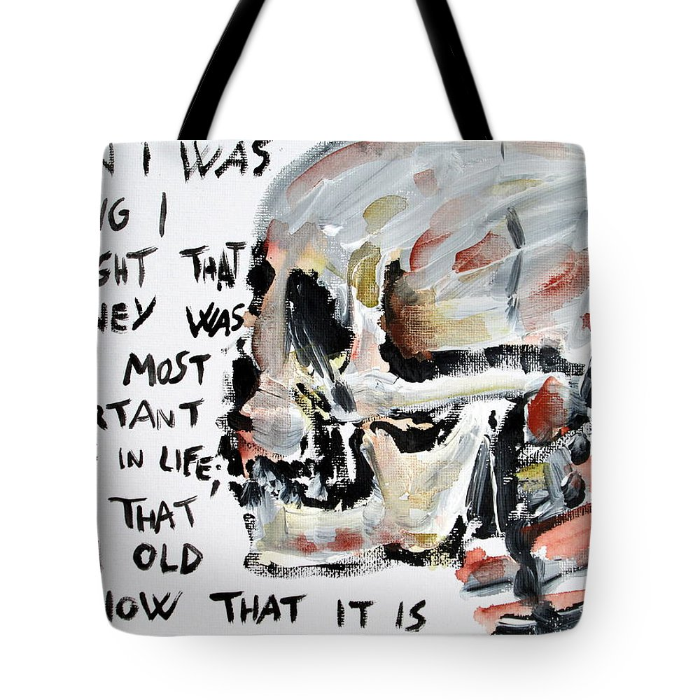Skull Tote Bag featuring the painting Skull Quoting Oscar Wilde.3 by Fabrizio Cassetta
