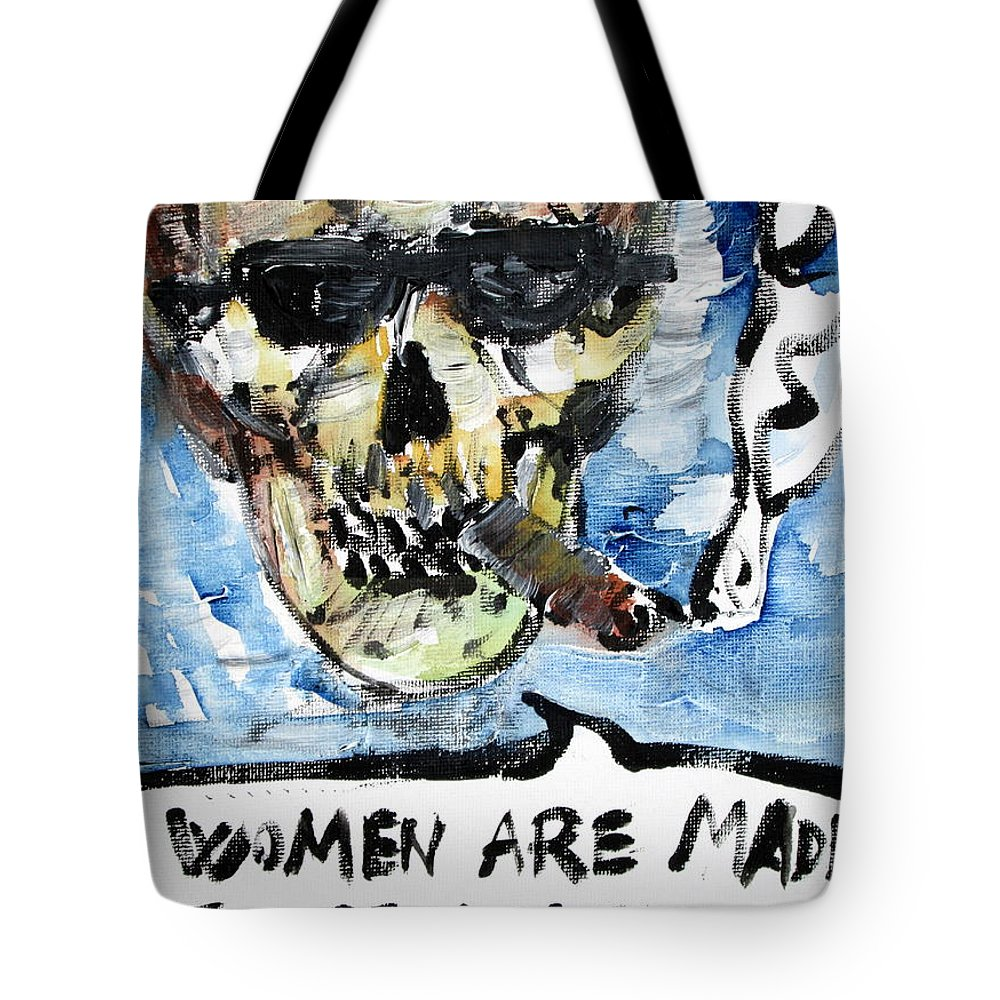 Skull Tote Bag featuring the painting Skull Quoting Oscar Wilde.6 by Fabrizio Cassetta
