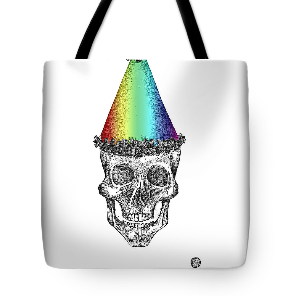Skull Tote Bag featuring the drawing Skull With Rainbow Hat by George Pedro