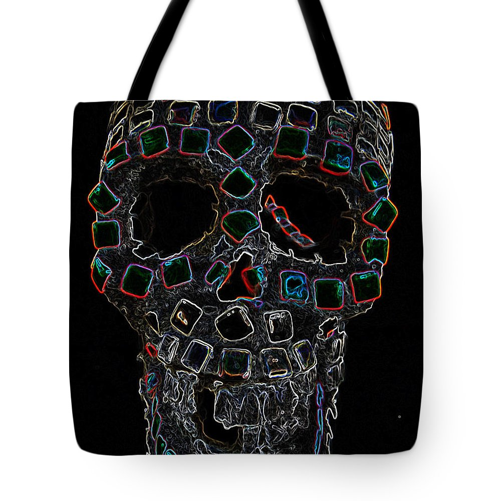 Skull Tote Bag featuring the mixed media Skully Alas We Hardly Knew Ye by Lisa Brandel
