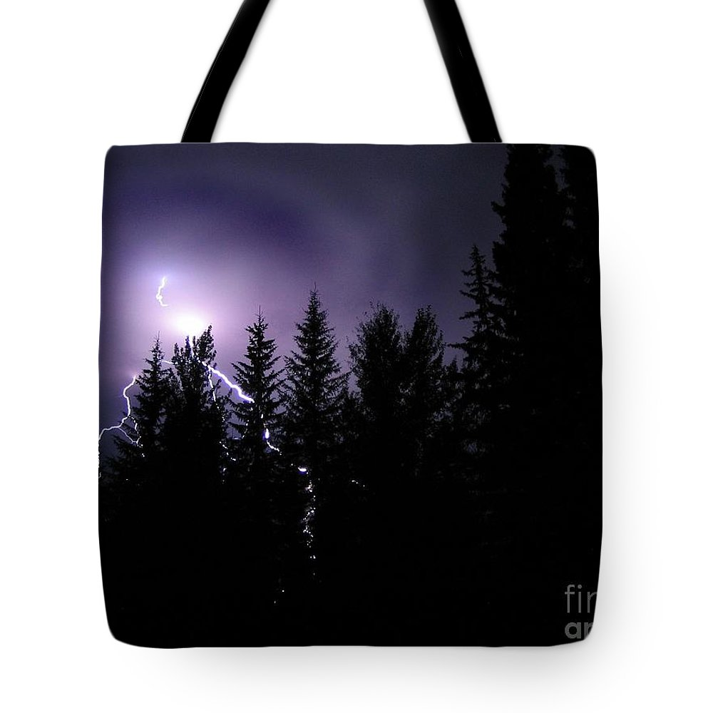 Lightning Tote Bag featuring the photograph Sky Bolt by Vivian Martin