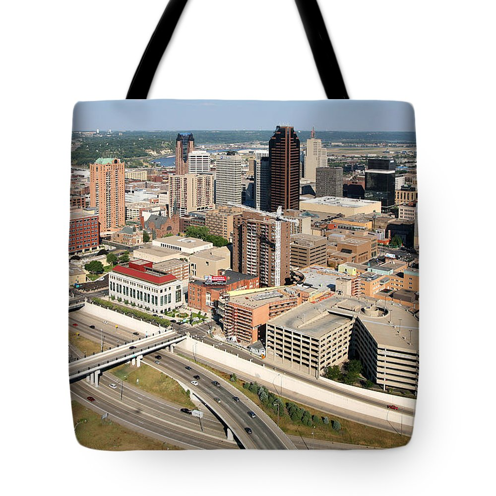 Aerial Tote Bag featuring the photograph Skyline Aerial Of St. Paul Minnesota by Bill Cobb